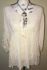 Billabong 3/4 Sleeve Ivory Cream Boho Hippie Casual Blouse Top Embroidered Sz L