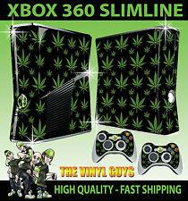 XBOX 360 SLIM  CANNABIS LEAF BLACK WEED STICKER SKIN & 2 X CONTROL PAD SKINS