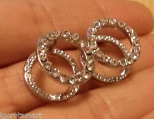 Special Round Clip On Huggie Hoop Stud Earrings Sterling Silver Crystal Ladies