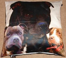 """Staffies Dog Print 24""""x24"""" cushion cover Faux Suede  Hand Washable"""