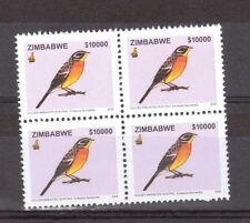 ZIMBABWE, 2005 $10000 , GOLDEN BRESTED BUNTING (BIRD) MNH BLOCK OF 4,