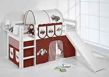 Lit mezzanine de Jelle 190X90 Blanc Avec Toboggan enfants Lilo TRACTEUR MARRON