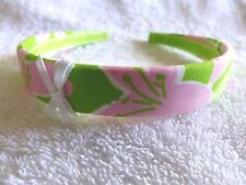"LILLY PULITZER 3/4"" Cotton Headband  ""CHILEAN AVENUE""   Lime Green Ribbon NEW"
