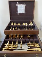 Vintage Supreme Cutlery Flatware Gold Plated Towle Silver Co Set 46 Pieces