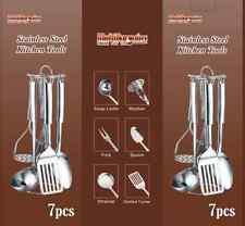 7PC Acciaio Inox Utensili da Cucina Tool Set Stand Cucchiaio Mestolo Turner Masher IP
