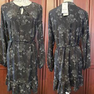 NEXT NWT UK 12 BLACK / Silver Grey Floral Frill Bottom Dress Long SleevesRRP £28