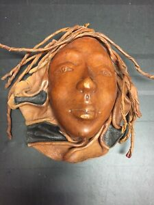 Handcrafted leather woman face mask wall hanging unique art piece earthy tribal