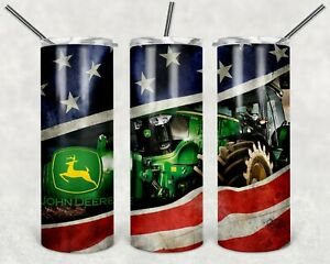 John Deere Tractor American Flag 20oz Tumbler - FREE PRIORITY SHIPPING