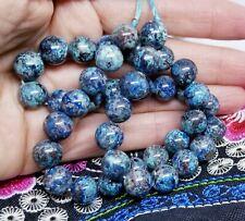 "40 Blue Chrysocolla Shattuckite Round Beads 10mm 15.5"" strand Congo 290cts Aaa+"
