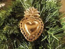Décoration Coeur de Marie à pendre dans sapin Noël boule religion Vierge métal