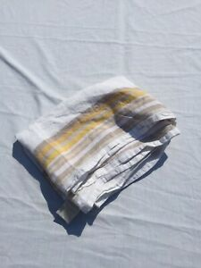 """White with Grey Yellow Stripes Table Rnner Williams Sonoma 100% Linen 20"""" x 108"""""""