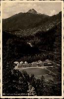 Wildbad Kreuth s/w AK 1935 Blick auf das Kurhaus und Kurhotel Panorama Wald Berg