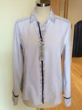 Just White Blouse Size 10 BNWT White Grey Trim RRP £103 Now £46