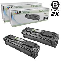 LD Remanufactured Replacements for HP 125A CB540A Black Toner Cartridges 2PK