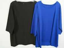 UNKNOWN Women's Plus 2pack Black & Blue 3/4S Pullover Stretch Tops size 1X/2X(?)