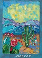 Original ACEO - Abstract desert - miniature acrylic painting, cacti