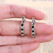 Plated Black Gold Hoop Dangle Earring Women Fashion Jewelry 925 Sterling Silver