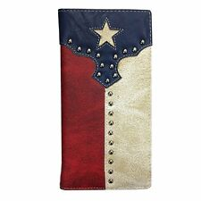 Mens Wallet Texas Flag Western Bifold Check Book Style W017
