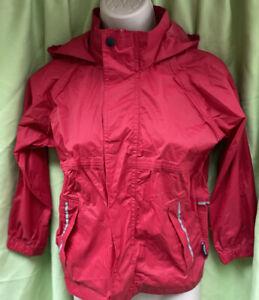 Regatta Age 6-7 Red Hooded Shower Wind Water Proof High Collar Unisex Jacket