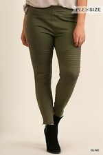 **NWOT Womens Umgee Brand Stretchy Olive Color Moto Jeggings Sz XL