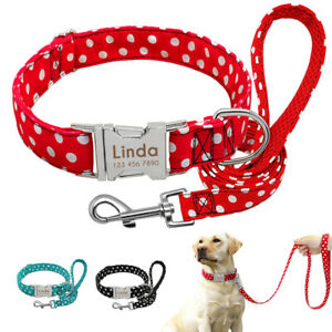 Cute Polka Dots Personalized Dog Collar and Leash Metal Name ID Tag Engraved S-L