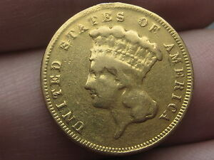 1889 $3 Gold Indian Princess Three Dollar Coin- Fine Details, 2,300 Mintage!