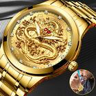 Waterproof Gold Mens Diamond Quartz Watch Classic Stainless Steel Business Gift