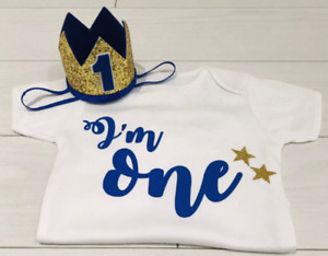 Luxury Boys First 1st Birthday Outfit Cake Smash Set Vest T-Shirt Top Crown One