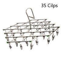 35Peg Stainless Steel Dryer Foldable Sock Clothes Airer Folding Hanger Rack Hook