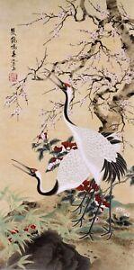 100% ORIGINAL ASIAN ART CHINESE WATERCOLOR PAINTING-Plum blossom&Crane birds