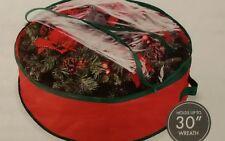 "Christmas Wreath or Garland Storage Bag - 30 "" x 8 "" Whitmor - Red Green Round"