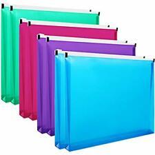 8pcs Poly Zip Envelopes Expandable Plastic Zipper Folders Letter Size 10 X 13 In