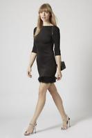 Topshop Women's Black Feather Hem Plunge Back Black Bodycon Mini Dress Sizes 6-8