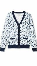 Thakoon for Target XXO Long Sleeve V-Neck Sweater Cardigan White Blue LARGE New