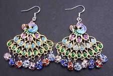 Fashion 40mm Multicolor Peafowl Pendant & Multicolor Crystal dangle earring-421
