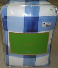 KATE SPADE NEW YORK Painted Gingham FULL/QUEEN 3pc Comforter Set BLUE WHITE