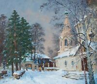 KOSTROMA, SLOBODA IN WINTER by ALEXANDROVSKY, Original oil Painting RUSSIAN 24x2