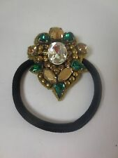 DEEPA GURNANI Brilliant Green Crystal Bronze Round Ponytail Holder NIP $45