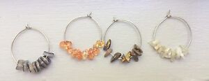 Handmade Wine Glass Charms With Beautiful Stones 4/pack