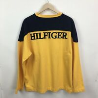 Vintage Mens XL TOMMY HILFIGER Spell Out Embroidered Sweater Sweatshirt  2c
