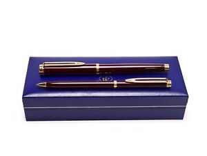 WATERMAN Gentleman Red Brown Lacquer & Gold Rollerball & Slimline Pencil Pen Set