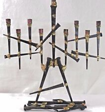 Artistic Sculpture Iron Cut Nails Hanukkah Menorah (Hanukkiah) Jewish Judaica