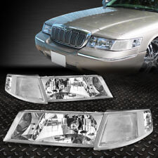 FOR 98-02 GRAND MARQUIS PAIR CHROME HOUSING HEADLIGHT+CLEAR SIDE TURNING SIGNAL