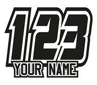 Custom Race Numbers and Name x3 Vinyl Stickers/Decals Motorbike Motorcross Quad