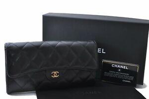Authentic CHANEL Lamb Skin Matelasse Long Wallet Black Box CC D4361