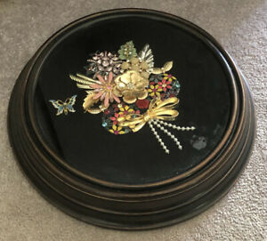 JEWELRY ART PICTURE/REPURPOSED JEWELRY 1 OF A KIND HANDMADE/FLOWER in clock