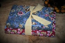 2 Primitive Time Worn 19c Fabric Covered Books Old Blues & Red Calico Prints