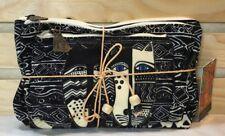 Laurel Burch ~ Blk & Cream Wild Cats 3 pc Cosmetic Bag Set Blue eyed cat Lb5804