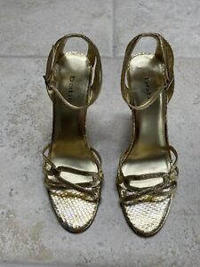 FREE SHIPPING Bebe Gold Snakeskin Stilettos with Silver Rhinestones 9M