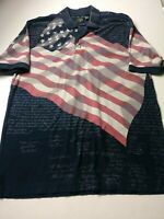 Cotton Traders Sport Mens Constitution American Flag Polo Sz L Blue Short Sleeve